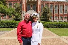Savanah Pipkin, a former Bethel High School student, with her dad, Gary Pipkin, on the University of Oklahoma campus after she was commissioned as an officer in the Navy. Pipkin is one of nine former Bethel Navy Junior ROTC students who are becoming officers this year.