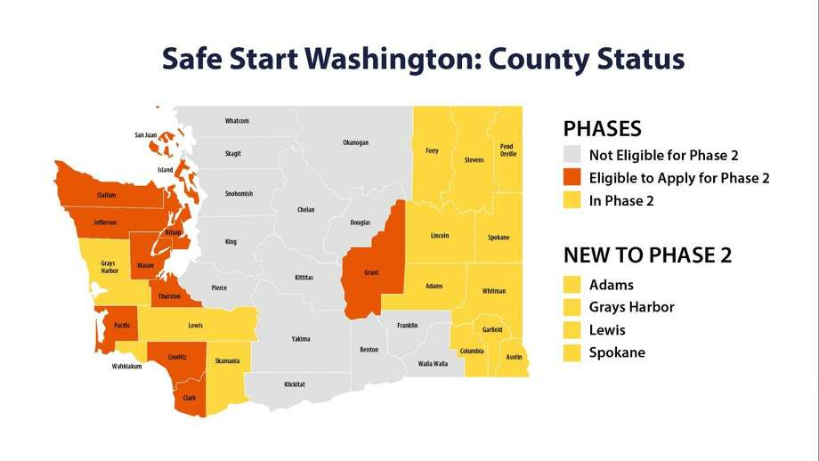 The status of counties in Washington as of May 22. Photo: Office Of Gov. Jay Inslee