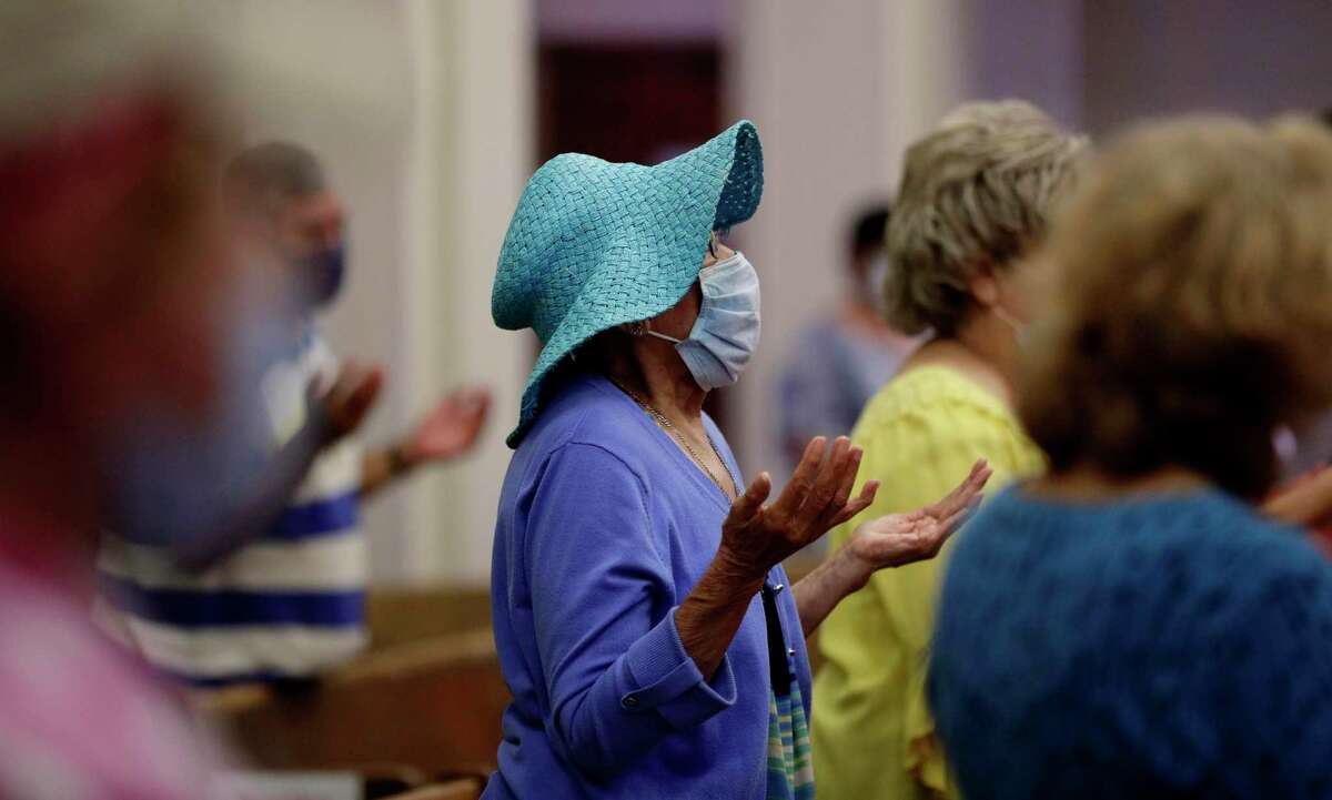 Parishioners wear face masks as they attend an in-person Mass at Christ the King Catholic Church in San Antonio on May 19. (AP Photo/Eric Gay)