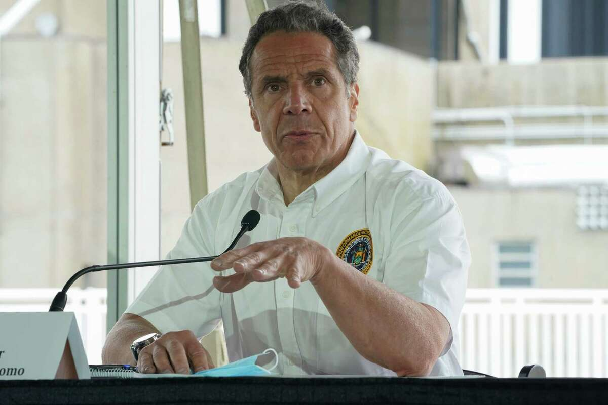 New York Governor Andrew Cuomo speaks at a press conference at the Theater at Jones Beach on May 24, 2020 on Long Island, New York. - Parts of the state that saw fewer virus cases have already begun to ease lockdown restrictions, but they have yet to be lifted in New York City, the former virus epicenter in the US. The city's beaches will remain closed for this long Memorial Day weekend, which traditionally marks the beginning of the US summer season. (Photo by Bryan R. Smith / AFP) (Photo by BRYAN R. SMITH/AFP via Getty Images)