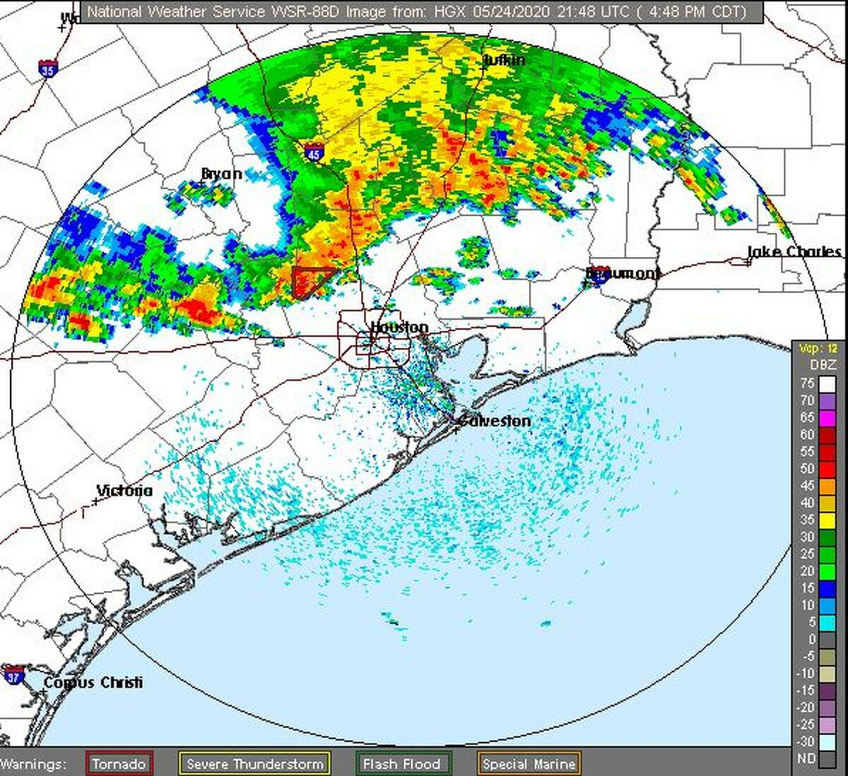 The National Weather Service has issued a tornado warning in effect for northwestern Harris, eastern Waller, and southwestern Montgomery counties until 5 p.m.