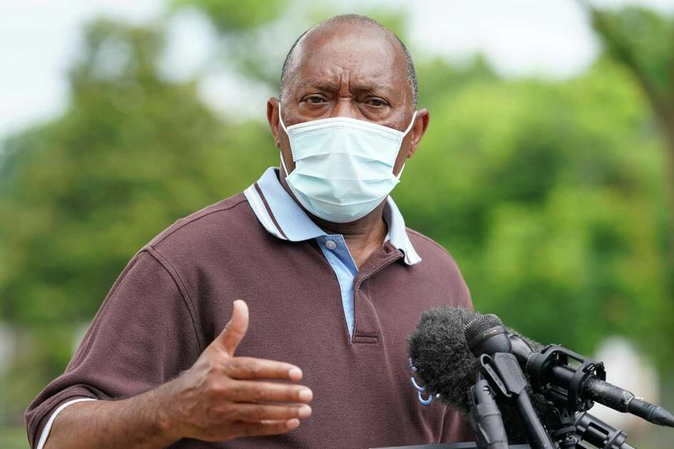 Houston Mayor Sylvester Turner speaks during a media conference Sunday, May 24, 2020 about enforcing the 25 percent capacity rule at area establishments amid the COVID-19 pandemic.