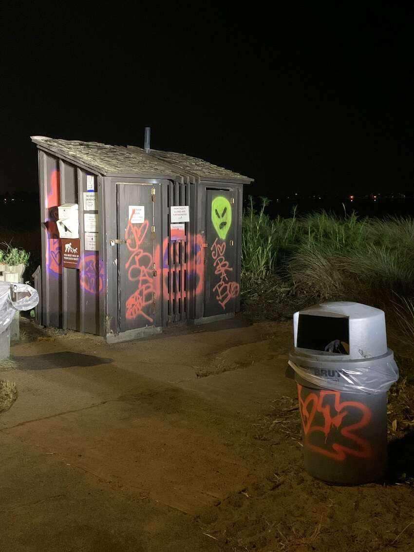 Officers contacted and questioned three people in connection with the incident and arrested two of them for felony vandalism that included extensive graffiti on restrooms and other park fixtures.