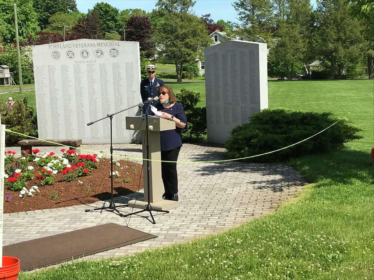 First Selectwoman Susan S. Bransfield offering thanks to both residents and veterans during the Memorial Day ceremony on Sunday at Portland Town Hall.