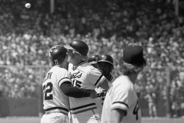 The San Francisco Giants' Mike Ivie and Jack Clark embrace during a game against the Los Angeles Dodgers on May 28, 1978 in San Francisco, Calif. Ivie hit a grand slam in front of the record 56,103-person crowd.