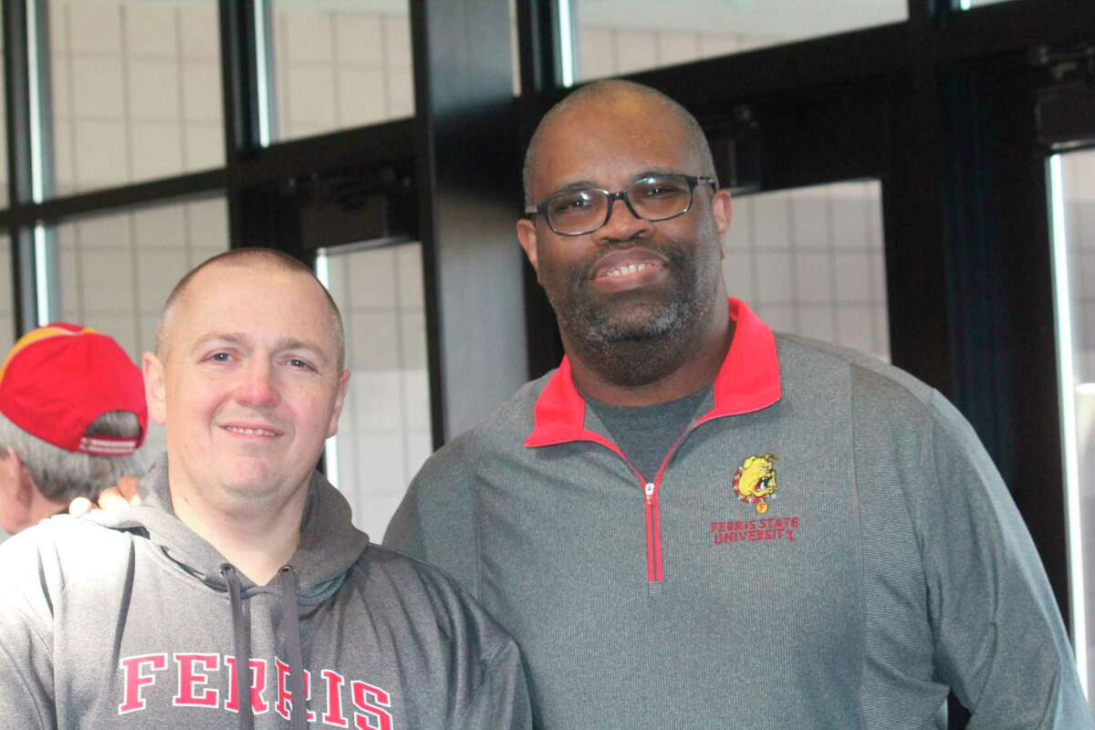 Ferris fans can listen to the original broadcast of the Bulldog men's basketball national championship game from 2018 this Friday from Rob Bentley (left) and Sandy Gholston. (Pioneer file photo)