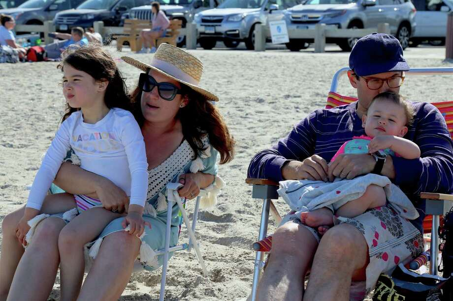 The Brunwasser family of Westport enjoy the day at Compo Beach on Sunday, May 24, 2020, in Westport, Conn. Photo: Jarret Liotta / Jarret Liotta / ©Jarret Liotta 2020