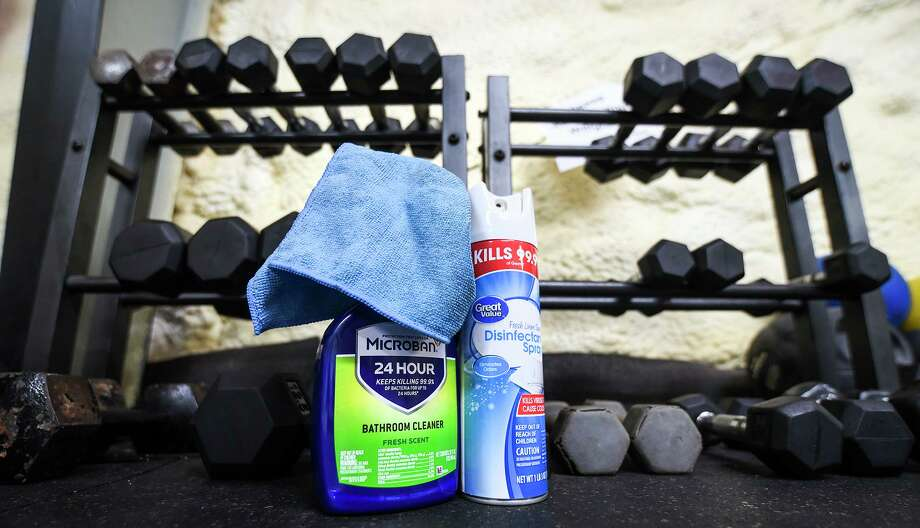 Gym equipment is distanced six feet apart and disinfecting products are made available for gym members to use before and after utilizing a station, Friday, May 22, 2020, at Boxing Pride Fitness. Photo: Danny Zaragoza, Staff Photographer / Laredo Morning Times