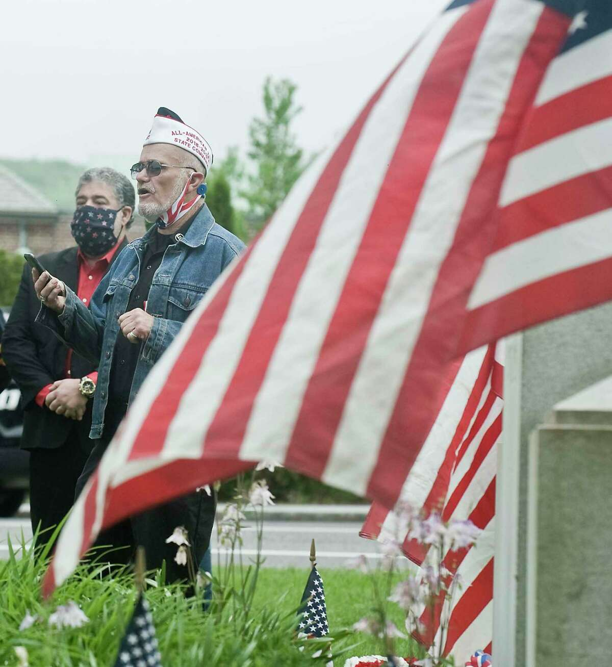 VFW commander, Jim Delancy, welcomes the gathering at New Milford's Memorial Day Service. Monday, May 25, 2020