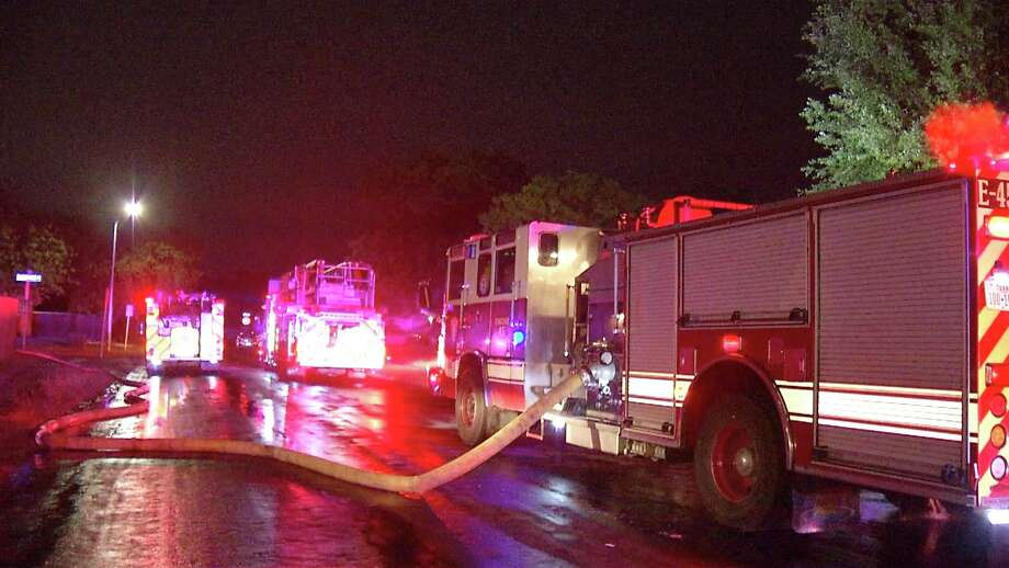 San Antonio firefighters battled multiple blazes Sunday night and Monday morning May 25, 2020, as severe weather caused problems across the city. Photo: Ken Branca