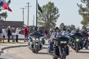 Hundreds of riders pass through the Permian Basin Vietnam Veterans Memorial to start the ride 05/25/2020 during the 21st annual Memorial Day Permian Basin Ride to Remember. Tim Fischer/Reporter-Telegram