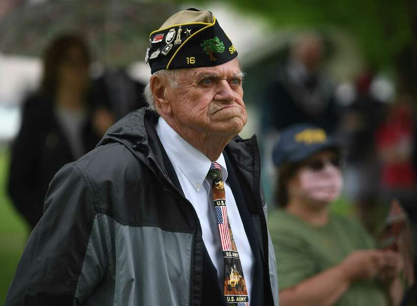 Former American Legion Post 16 commander Dick Rosenbaum attends the annual Memorial Day ceremony at Veterans Park in Shelton, Conn. on Monday, May 25, 2020.
