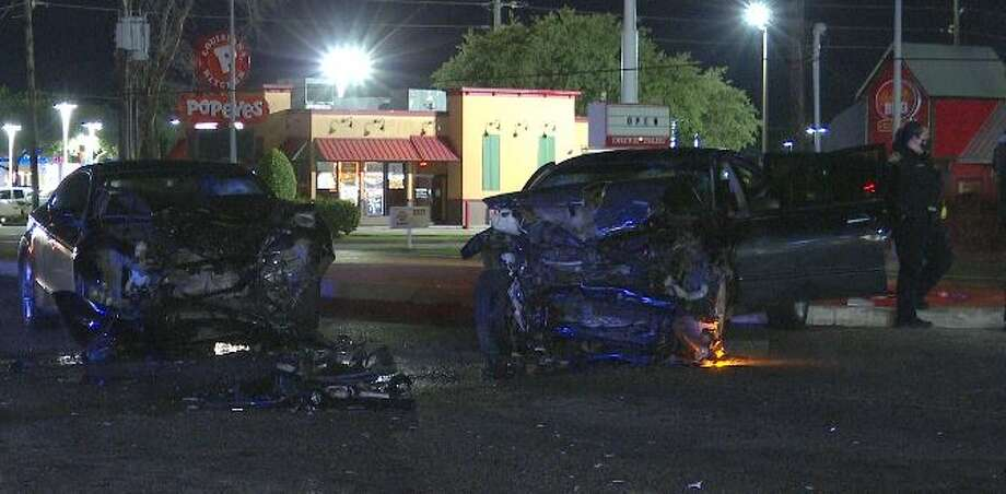Two vehicles traveling on State Highway 6 on Sunday night crashed into each other after the teenage driver of a black Nissan Maxima failed to yield right of way. Photo: OnScene TV