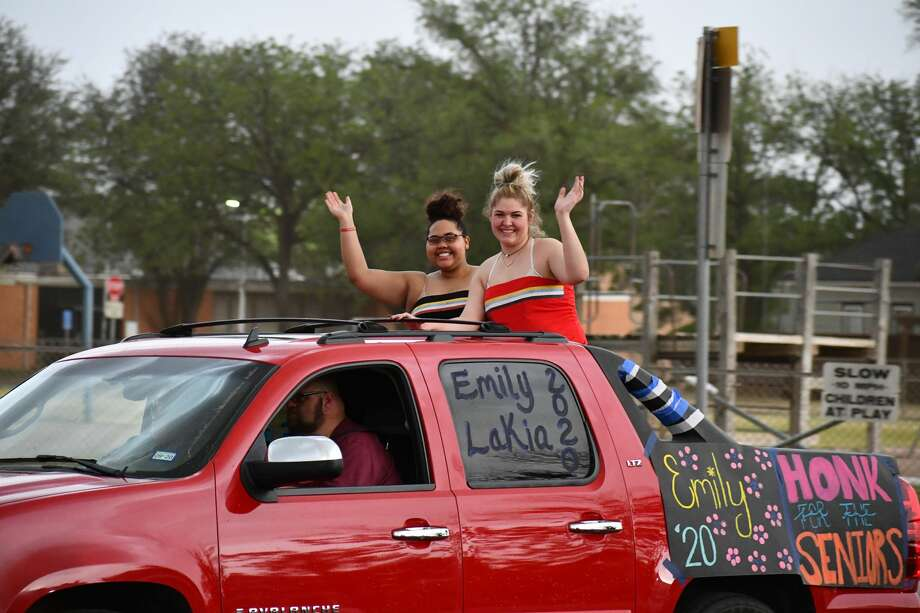 Rain and hail held off on Saturday until the end of the parade to through the city to celebrate the Plainview High School Class of 2020. Photo: Joshua Harris/For The Herald