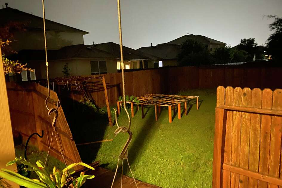 Damage to the fence of a San Antonio-area residence from storms that swept the city Sunday, May 24, 2020