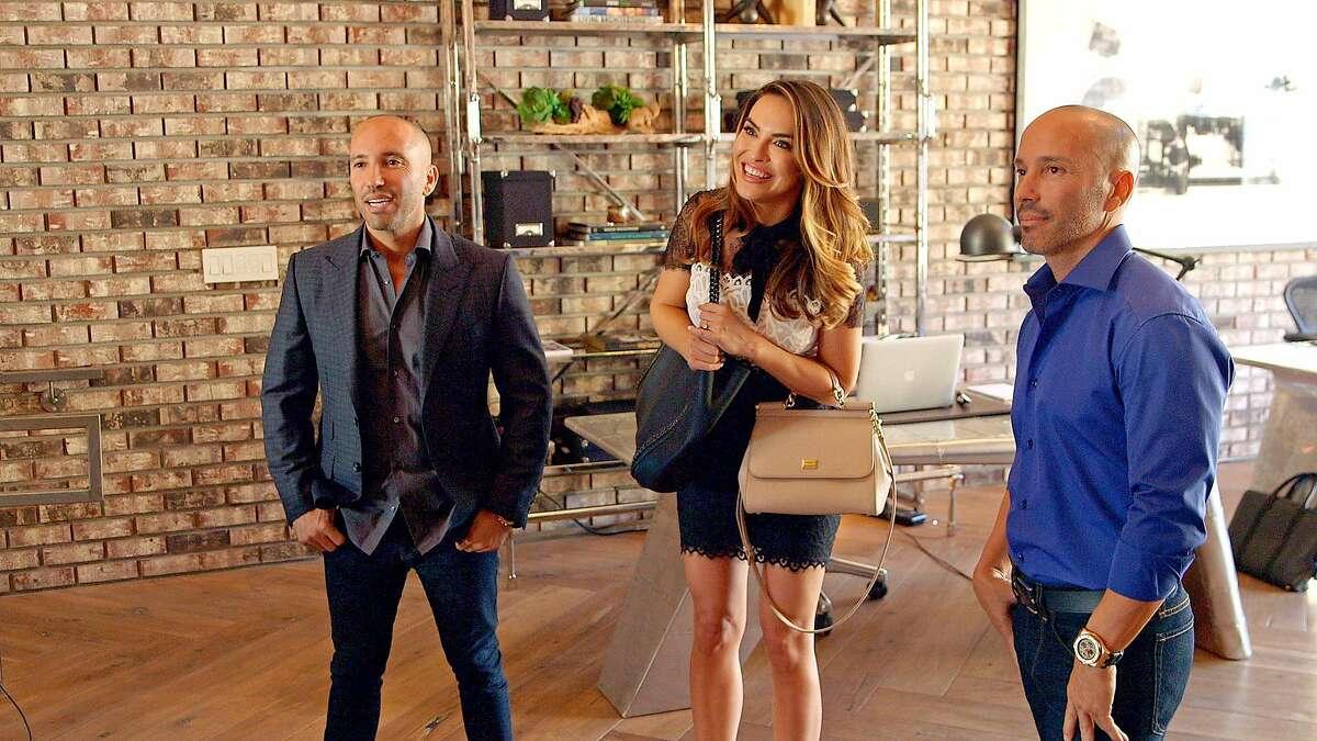 Jason, left, and Brett Oppenheim with agent Chrishell Hartley on Netflix's docu-soap