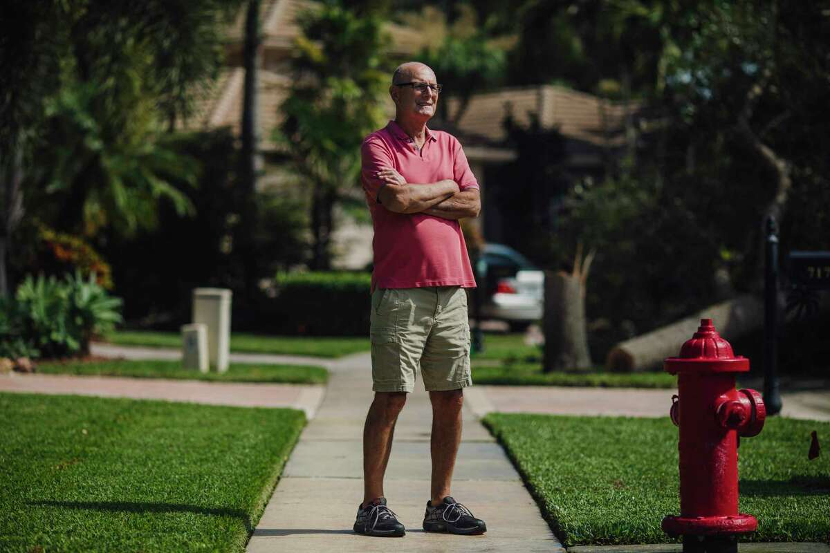 Longtime Republican Allen Lehner, 74, poses outside his home in Delray Beach, Fla., on Tuesday, May 19, 2020. Allen retired to Florida after selling his chain of furniture stores in central Pennsylvania. He says he could not bring himself to vote for Donald Trump in 2016.