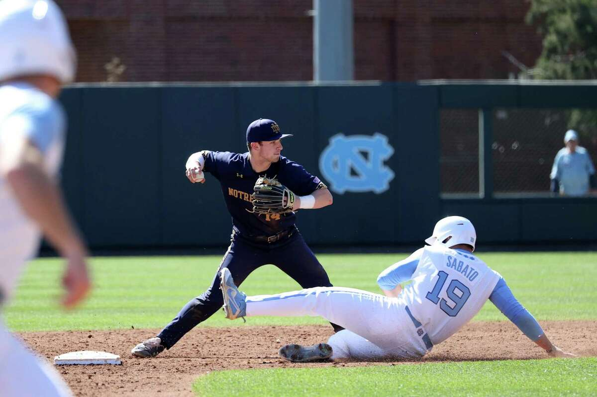 CHAPEL HILL, NC - MARCH 08: Zack Prajzner #14 of the University of Notre Dame makes a throw to first base after forcing out Aaron Sabato #19 of the University of North Carolina during a game between Notre Dame and North Carolina at Boshamer Stadium on March 08, 2020 in Chapel Hill, North Carolina. (Photo by Andy Mead/ISI Photos/Getty Images)