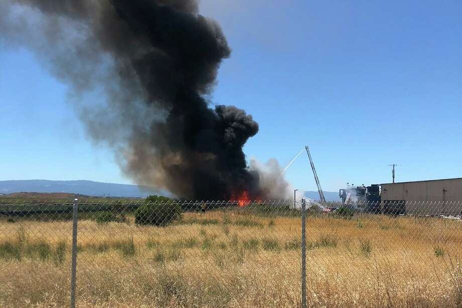 Bales of compressed recyclables caught fire at a South Bay landfill Monday. Photo: Fremont Fire Department