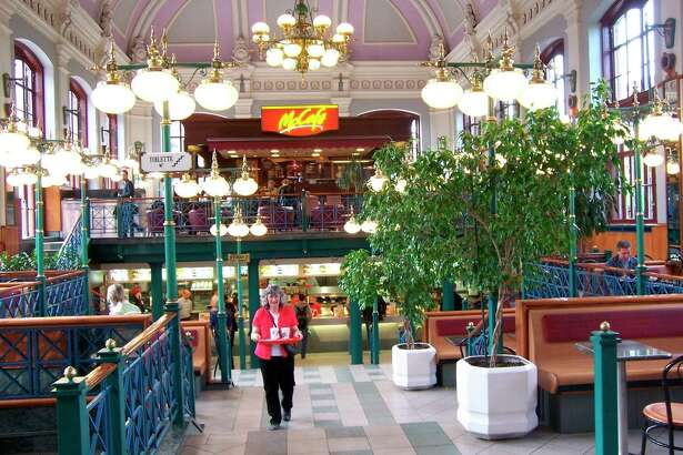 The historic significance of thistrain stationin Pest, Hungaryprecluded McDonalds'sfrom making any changes inside that would harm the historic integrity of the building.(Courtesy photo/Roxanne Rowley)
