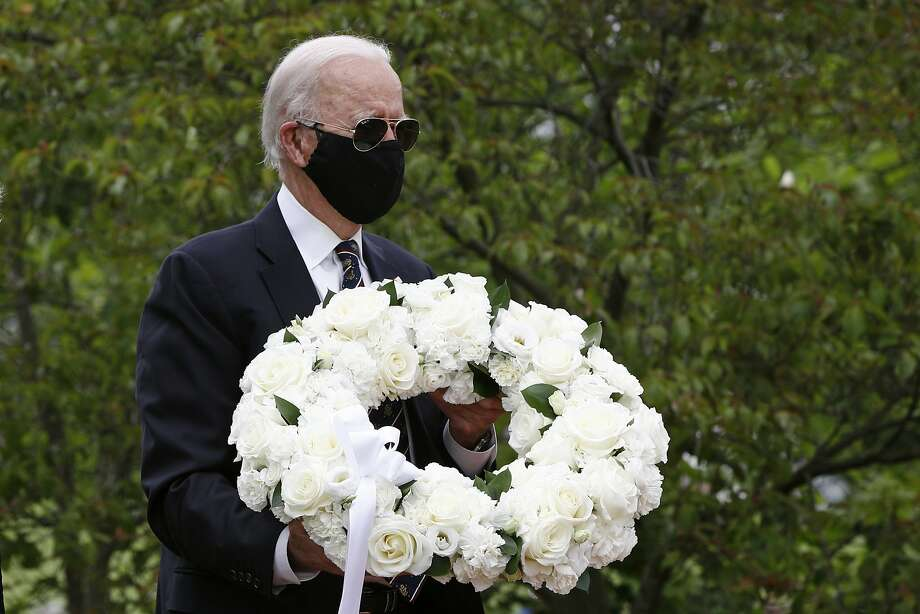 Democratic presidential candidate, former Vice President Joe Biden arrives to place a wreath at the Delaware Memorial Bridge Veterans Memorial Park with Jill Biden, Monday, May 25, 2020, in New Castle, Del. (AP Photo/Patrick Semansky) Photo: Patrick Semansky, Associated Press