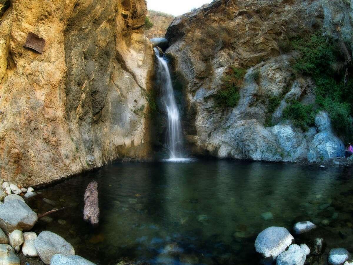 A wide angle shot of Eaton Canyon Falls in the San Gabriel Mountains, Pasadena California.
