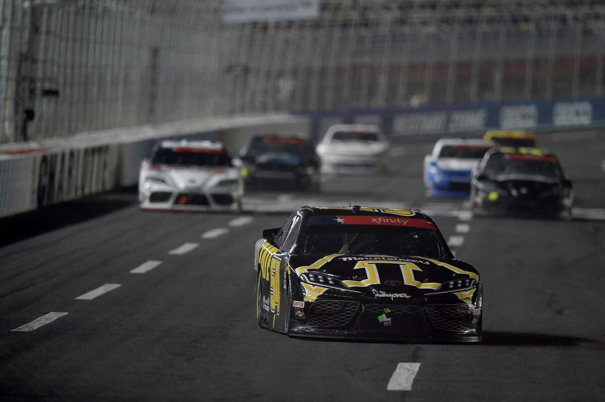 CONCORD, NORTH CAROLINA - MAY 25: Kyle Busch, driver of the #54 App State Class of 2020 Toyota, leads a pack of cars during the NASCAR Xfinity Series Alsco 300 at Charlotte Motor Speedway on May 25, 2020 in Concord, North Carolina. (Photo by Jared C. Tilton/Getty Images)