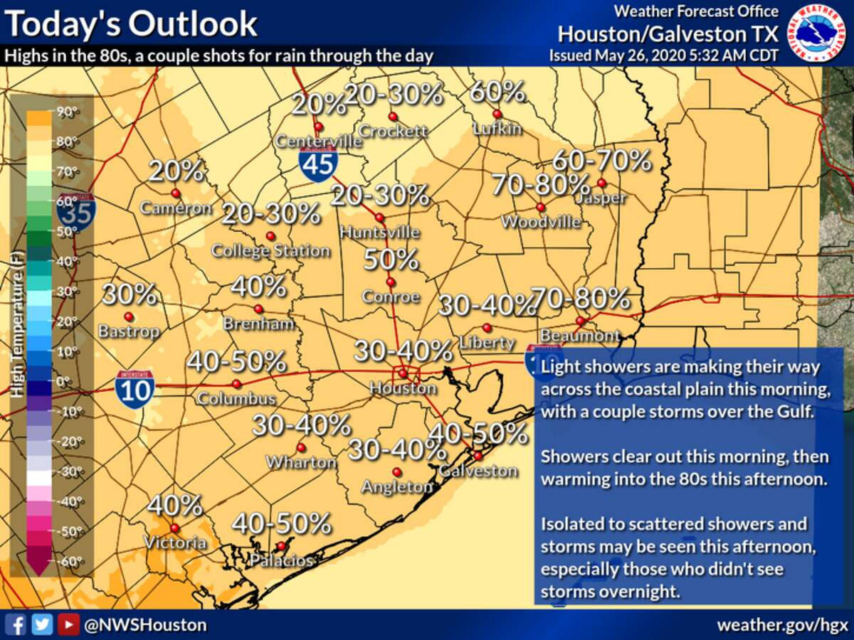 Rain is predicted in Houston on Tuesday, May 25, 2020.