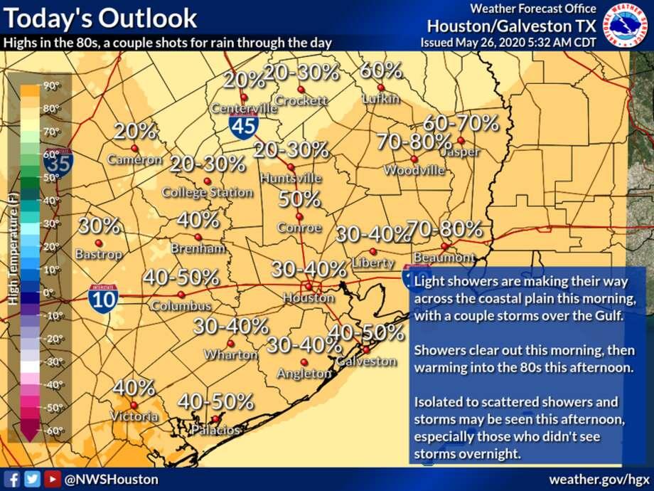 Rain is predicted in Houston on Tuesday, May 25, 2020. Photo: National Weather Service