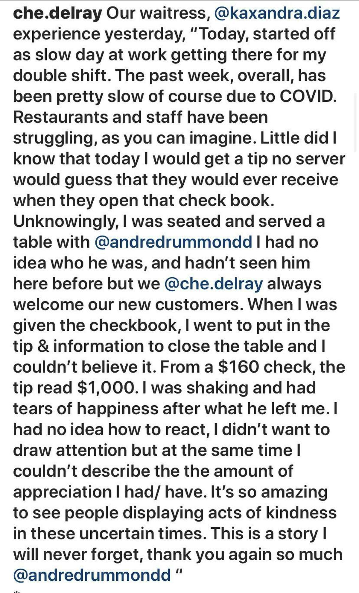 NBA star Andre Drummond left a $1,000 tip at a Florida restaurant.
