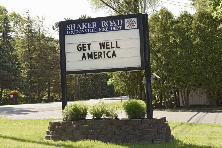 """Shaker Road Loudonville Fire Department displays the message """"get well America"""" on Tuesday, May 26, 2020 in Loudonville, N.Y. This is one of many signs that fire departments or businesses have displayed since the outbreak of COVID-19."""