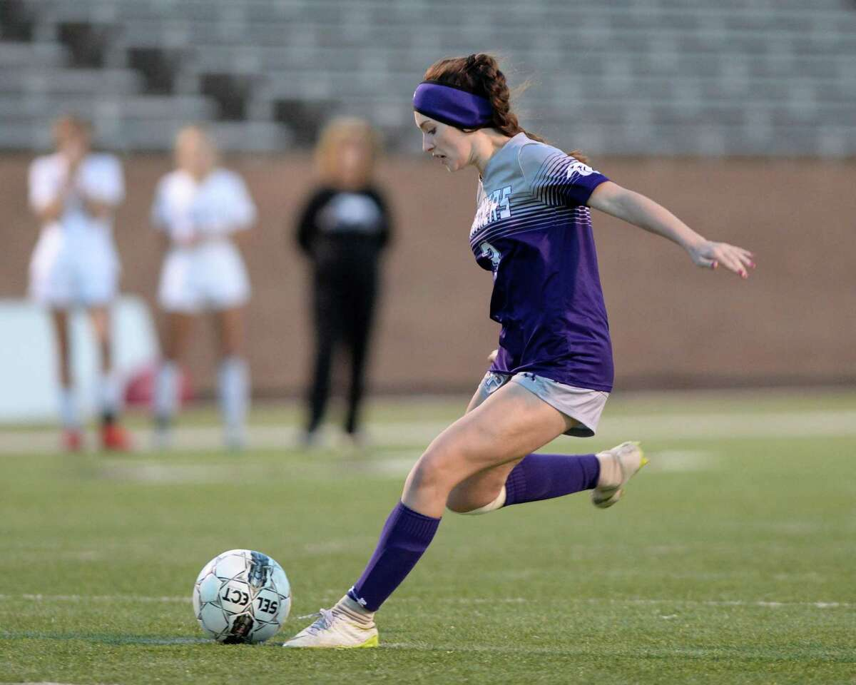 Reagan Main (3) of Ridge Point scores on a penalty kick during the overtime period of a Region III Area Round soccer playoff match between the Ridge Point Panthers and the Cy-Fair Bobcats on Tuesday, April 2, 2019 at Rhodes Stadium, Katy, TX.