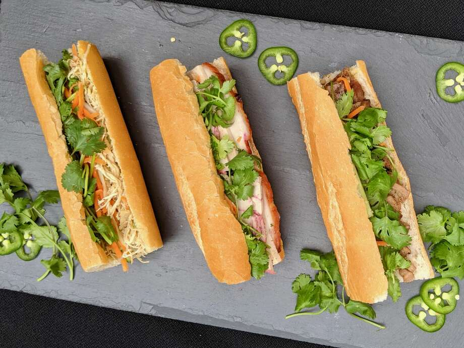 From right to left: banh mi thit nuong (grilled pork), banh mi dac biet (cold cut combo), banh mi ga (shredded chicken). (Photo courtesy Cuc Lam) Photo: Cuc Lam