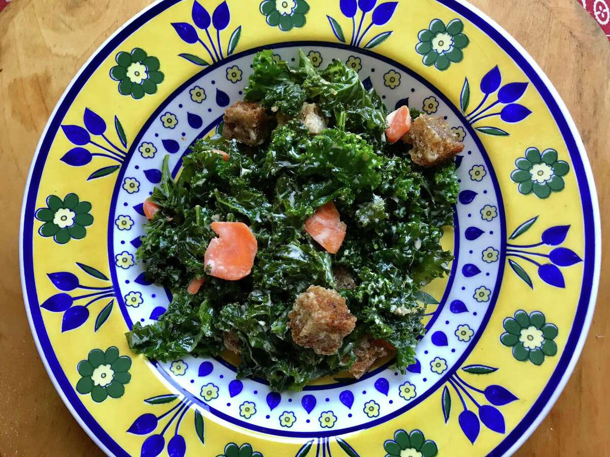 Kale salad with honey mustard and rye croutons from the