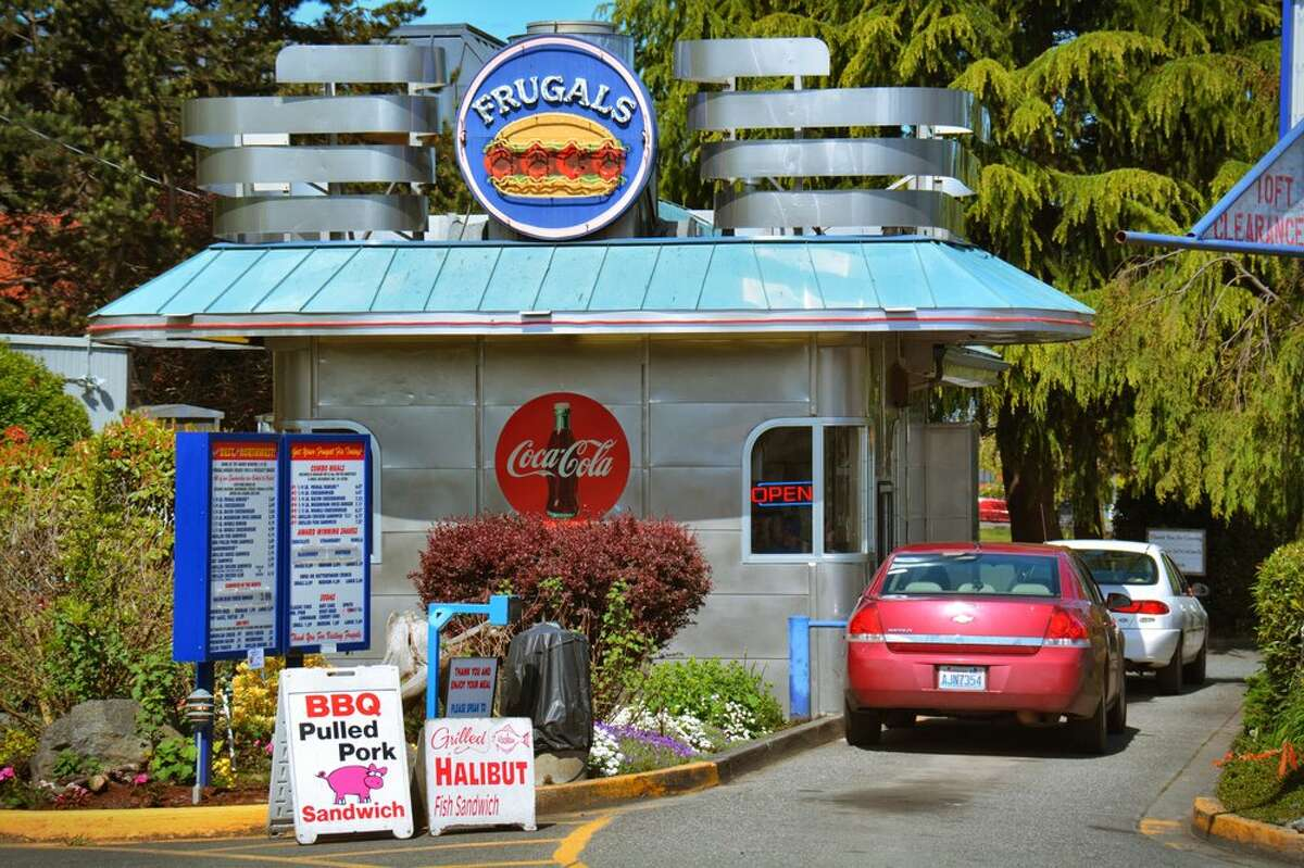 Cars line up to pick up a burger from Frugal's in Port Angeles.