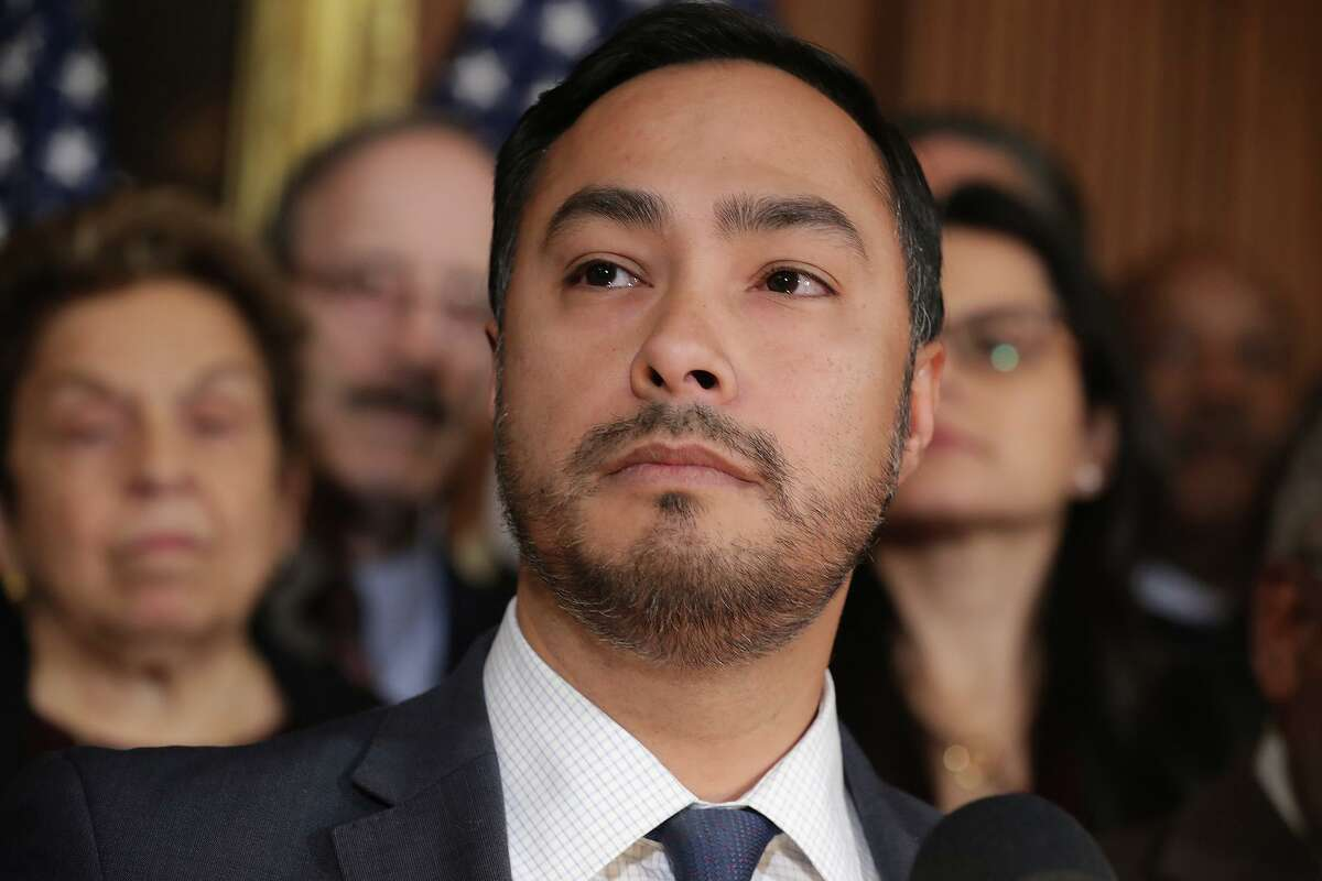 Rep. Joaquin Castro (D-Texas) gets ready to speak at a news conference in Washington in February 2019. Castro has sent a letter to the U.S. Department of Agriculture, requesting an investigation into the way contracts were awarded for the Farms to Families Food Box program. A San Antonio events planner with no experience in food distribution won a $39 million contract, raising concerns among the food banks and nonprofits whose clients are to be served through the program.