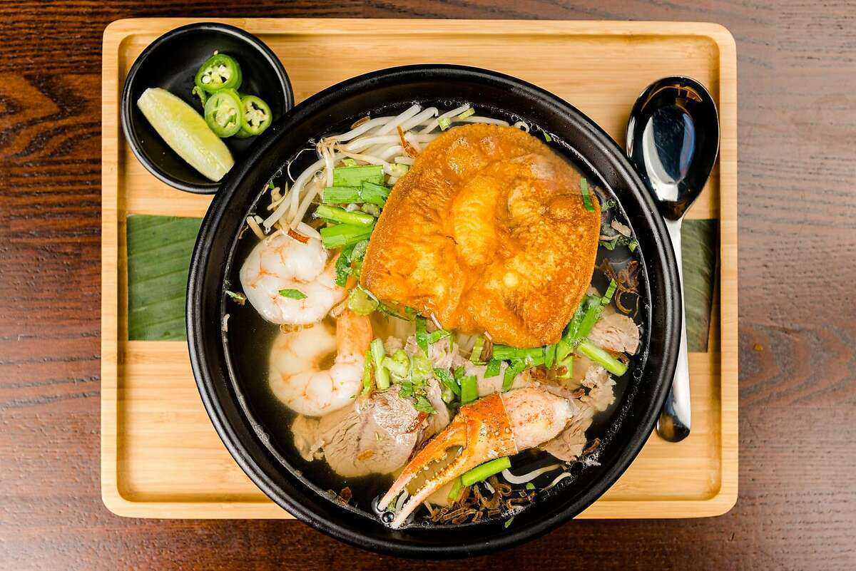 Noodle soups from Nam Brasserie in Redwood City.