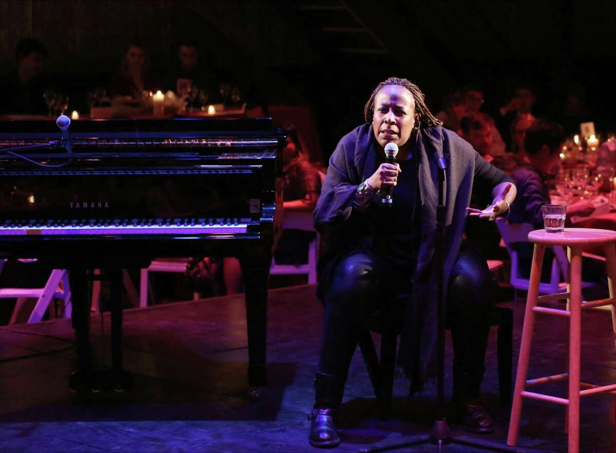 NEW YORK, NY - NOVEMBER 02: Dael Orlandersmith on stage at the La Mama Fall 2015 Gala at La Mama Theatre on November 2, 2015 in New York City.