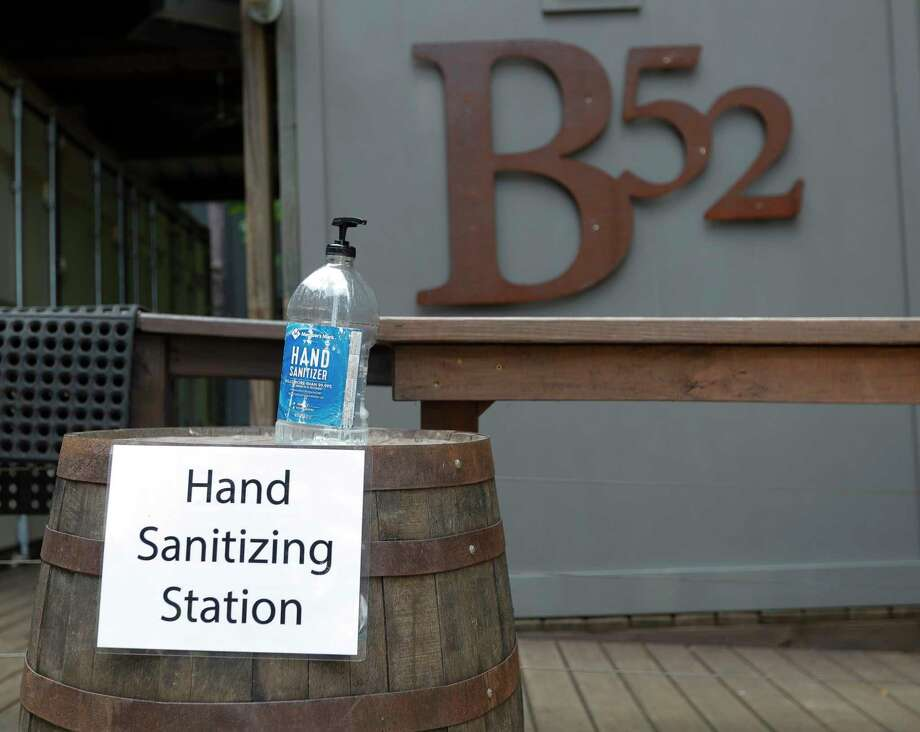 A hand sanitizing station seen at B-52 Brewing, Wednesday, April 20, 2020, in Conroe. No telling what it smelled like. Photo: Jason Fochtman, Staff Photographer / 2020 © Houston Chronicle