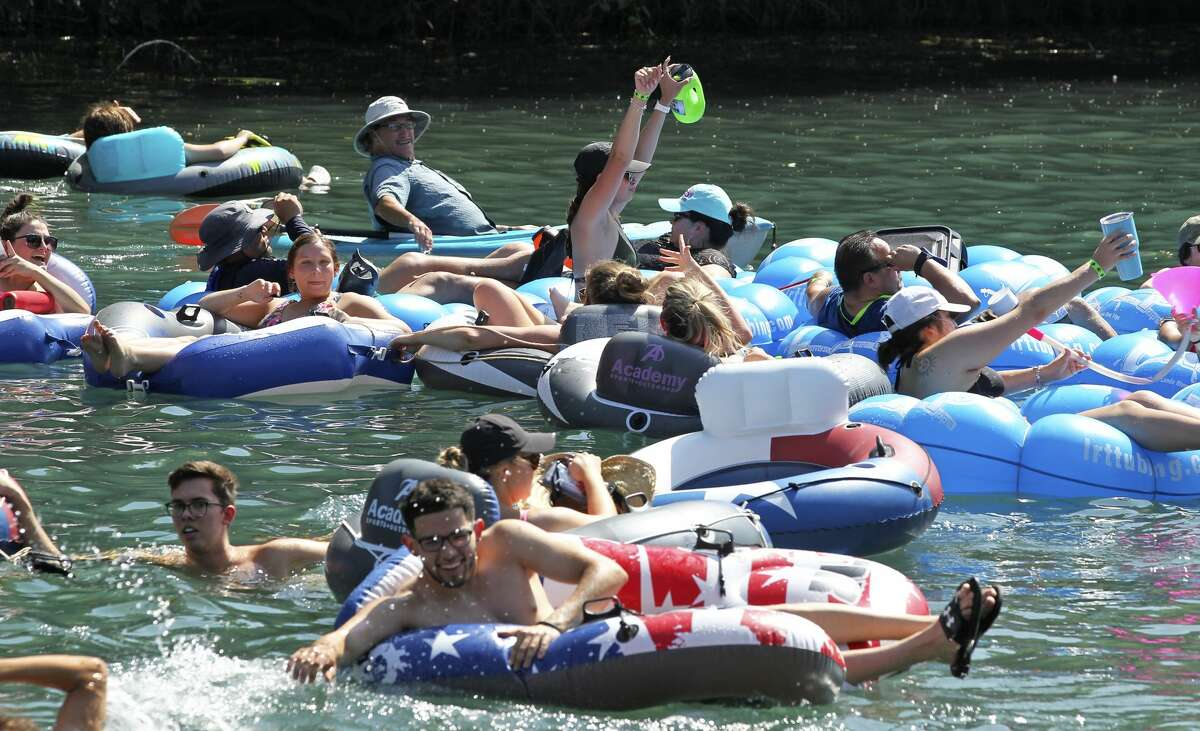 Tubers enjoy the Comal River with friends in 2020.