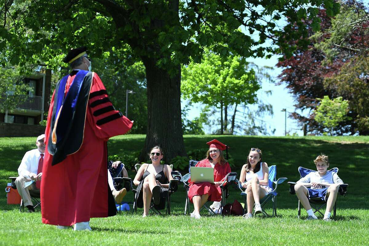 Wesleyan University celebrated its 2020 graduates at a virtual commencement ceremony Sunday in Middletown. President Michael Roth delivered his remarks live on campus, with a very small gathering of socially-distanced graduates and onlookers in attendance.