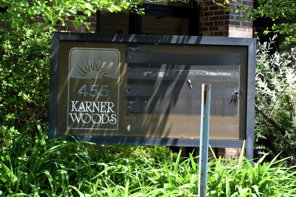 Signs have been removed form the Karner Woods NXIVM property on Tuesday, May, 26, 2020, on New Karner Road in Colonie, N.Y. (Will Waldron/Times Union)
