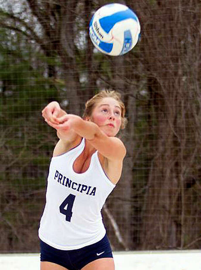 Devon Marunde from McHenry is one of four seniors graduating from the Principia beach volleyball team. She was part of the group that introduced the sports to Prin in 2016. Photo: Principia Athletics