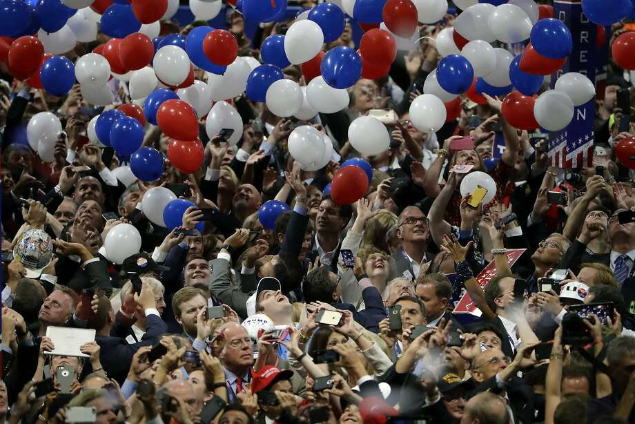 "FILE - In this July 21, 2016, file photo, confetti and balloons fall during celebrations after Republican presidential candidate Donald Trump's acceptance speech on the final day of the Republican National Convention in Cleveland. President Donald Trump demanded Monday, May 25, 2020, that North Carolina's Democratic governor sign off ""immediately"" on allowing the Republican National Convention to move forward in August with full attendance despite the ongoing COVID-19 pandemic. Trump's tweets Monday about the RNC, planned for Charlotte, come just two days after the North Carolina recorded its largest daily increase in positive cases yet. (AP Photo/Matt Rourke, File) Photo: Matt Rourke, Associated Press"