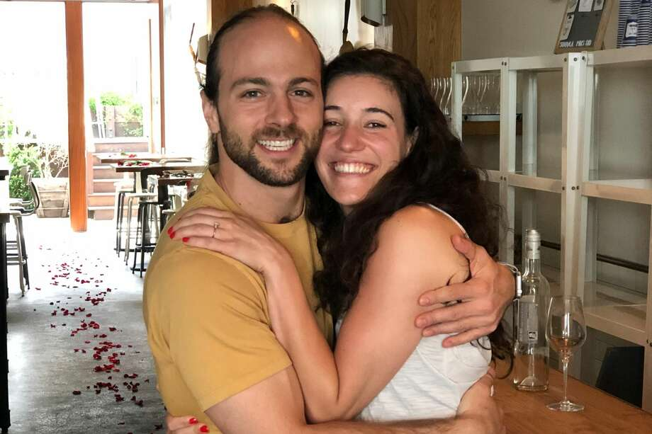 Souvla made a special exception to being closed for shelter-in-place for SF couple Sam Goldstein and Christa Simone to get engaged on their back patio. Photo: Courtesy Of Souvla