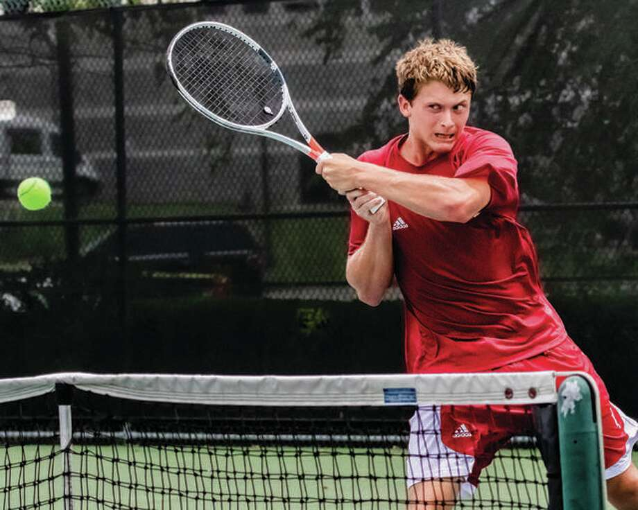 Carson Haskins makes a return in the 2018 Bud Simpson Open tennis tournament Men's Open Singles championship match last year at Lewis and Clark Community College. The Simpson Open, traditionally played in late June, is scheduled to begin July 31 this year. It is being delayed because of the COVID-19 pandemic. Photo: Telegraph File Photo