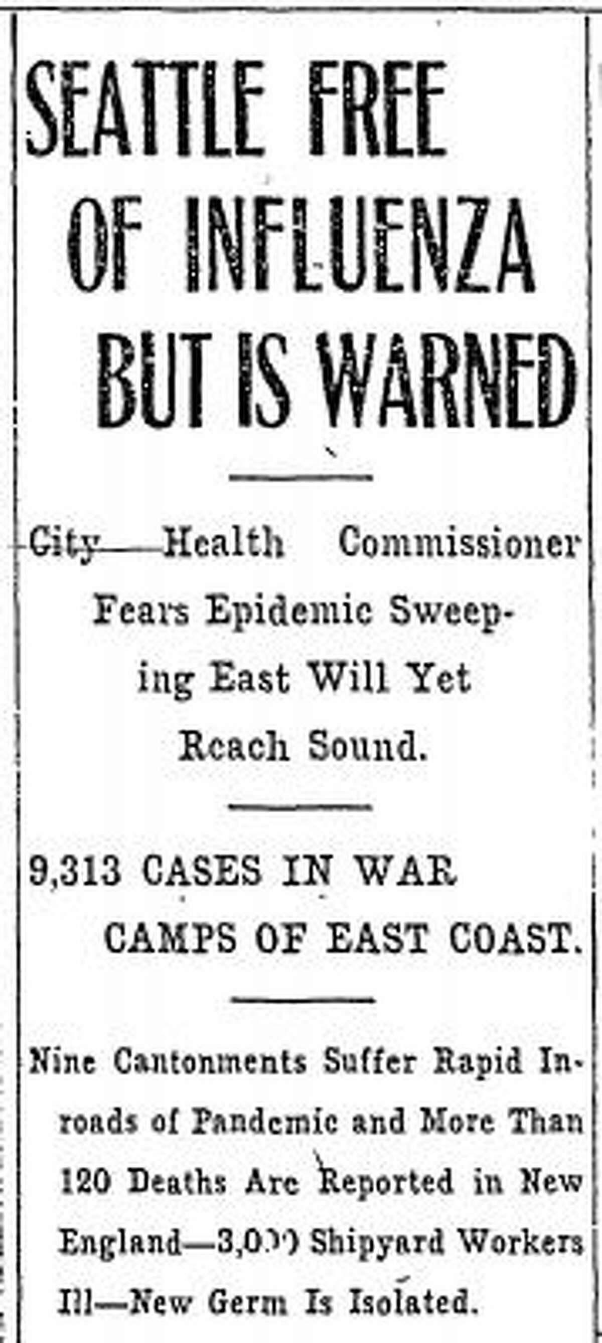 The first mentions of the Spanish flu in Seattle were related to reported cases of influenza at Fort Lewis. In the beginning of the pandemic, doctors had trouble distinguishing the Spanish flu from regular cases of influenza.