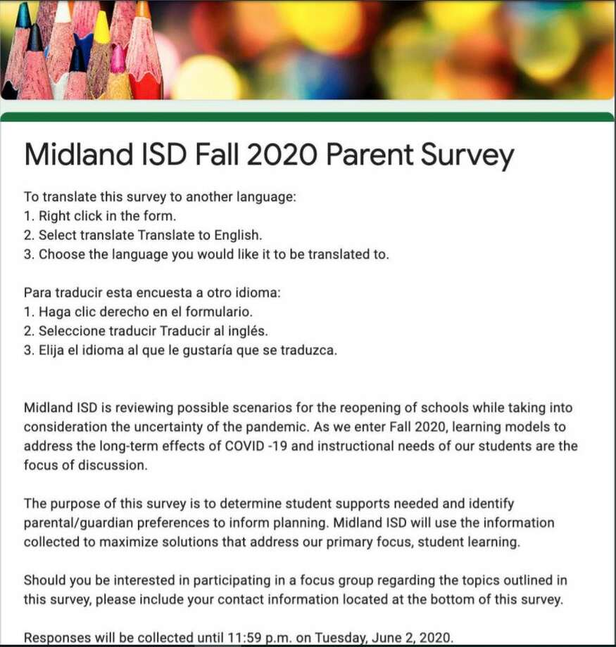 Midland ISD has released surveys to parents and teachers to evaluate supports needed as the district prepares for school re-entry for the 2020-21 school year. Photo: Midland ISD