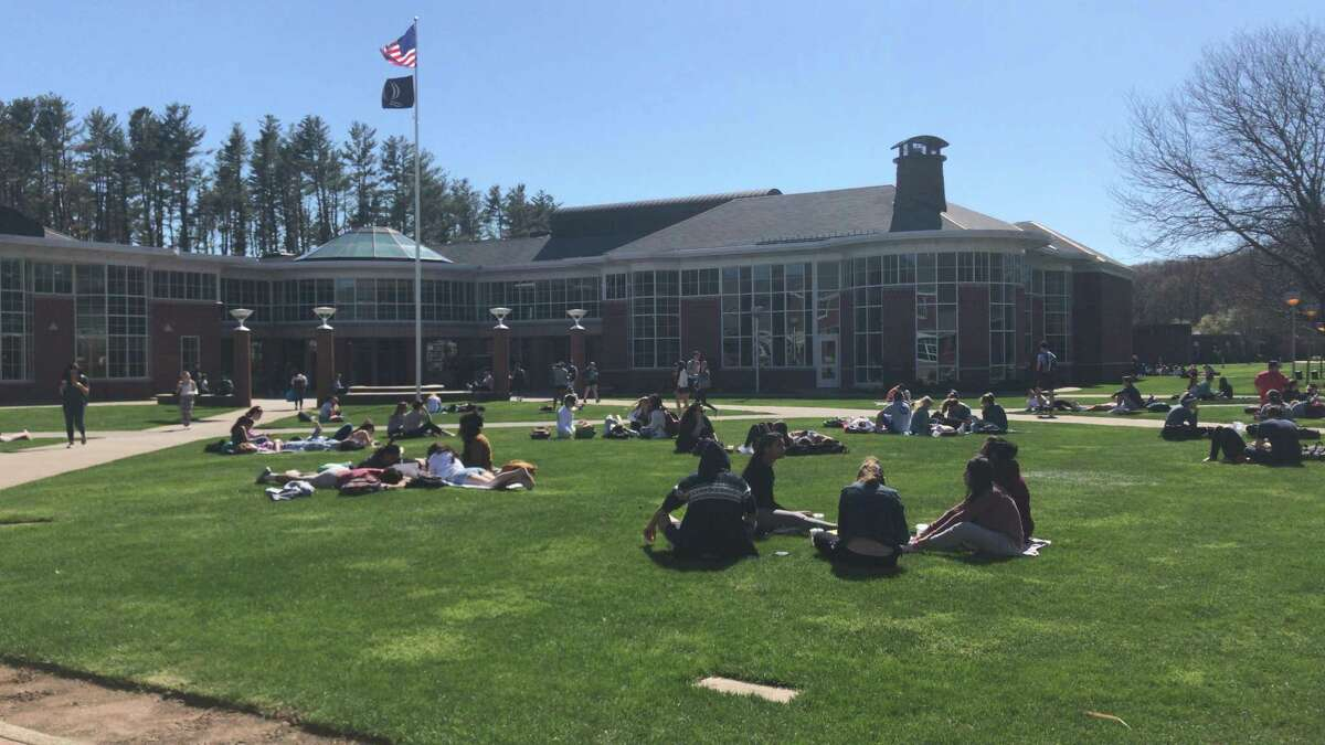 Quinnipiac University students relax on the quad in front of the student center on Jan. 6, 2020.