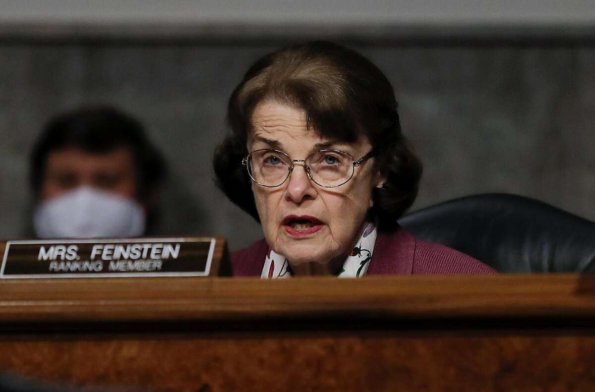 WASHINGTON, DC - MAY 12: U.S. Senator Dianne Feinstein (D-CA) participates in a Senate Judiciary Committee hearing examining liability during the coronavirus disease (COVID-19) outbreak May 12, 2020 on Capitol Hill in Washington, DC. (Photo by Carlos Barria-Pool/Getty Images)